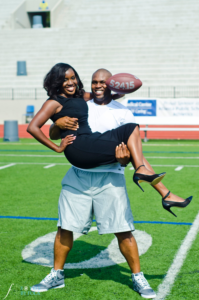 1. Love. Law and Footbal! Cadesha + Tramaine Engaged | Grady Stadium | Rooftop 866 | Atlantic Station | Fotos by Fola| Atlanta Wedding Photographers
