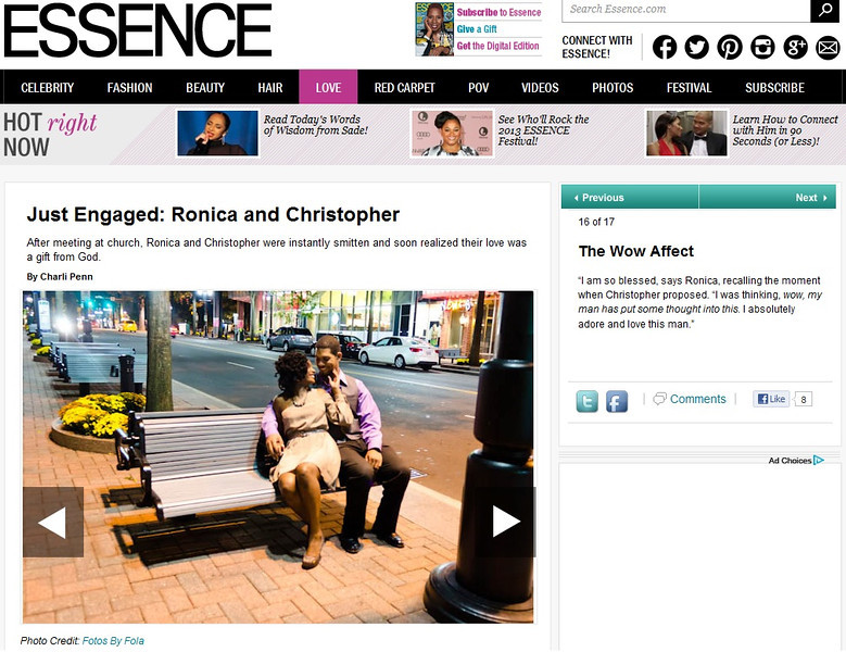 Ronica and Christopher Engagement Session on Essence | Essence.com | Fotos by Fola | Atlanta Wedding Photographers