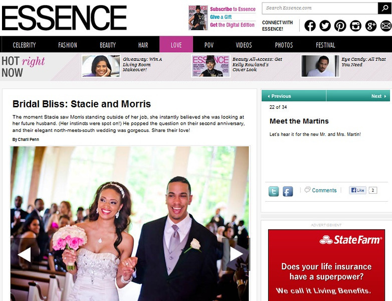 Stacie and Morris on Essence.com Bridal Bliss | Fotos by Fola | Atlanta Wedding Photographers